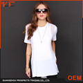 Women longline t shirt ladies sides cut open sheer top wholesale longline women fashion t shirt