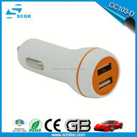 2015 hot selling ABS material 2 port usb car charger for all brand mobile phone
