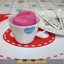 OEM Welcome Waterproof Silicone Dinner Set Cup Bowl Mat,Baby Kids Cartoon Printed Plate Mat Table Mat Set