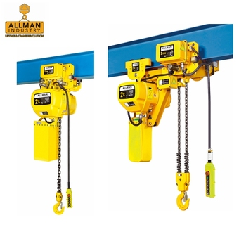 ALLMAN 220 V 440V 3Phase dual speed 2ton electric hoist with monorail beam trolley