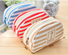 Promotional Printed Canvas Makeup Brush Pensil Bags Strip Printed Ziplock Pen Bags