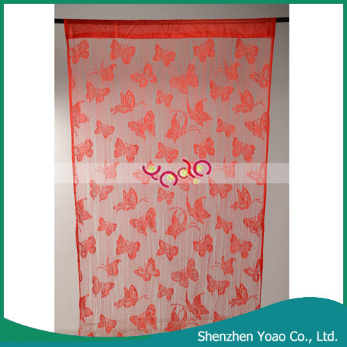 Beautiful Butterfly Pattern Door Curtain , Red Window Cotton Curtain