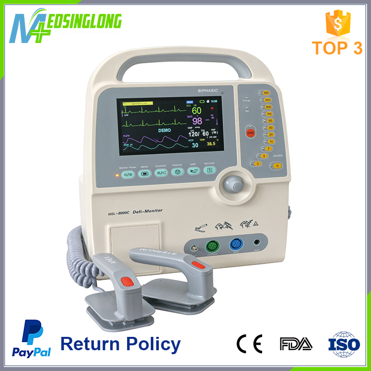 China hot selling First aid emergency equipment hospital medical cardiac biphasic defibrillator monitor price