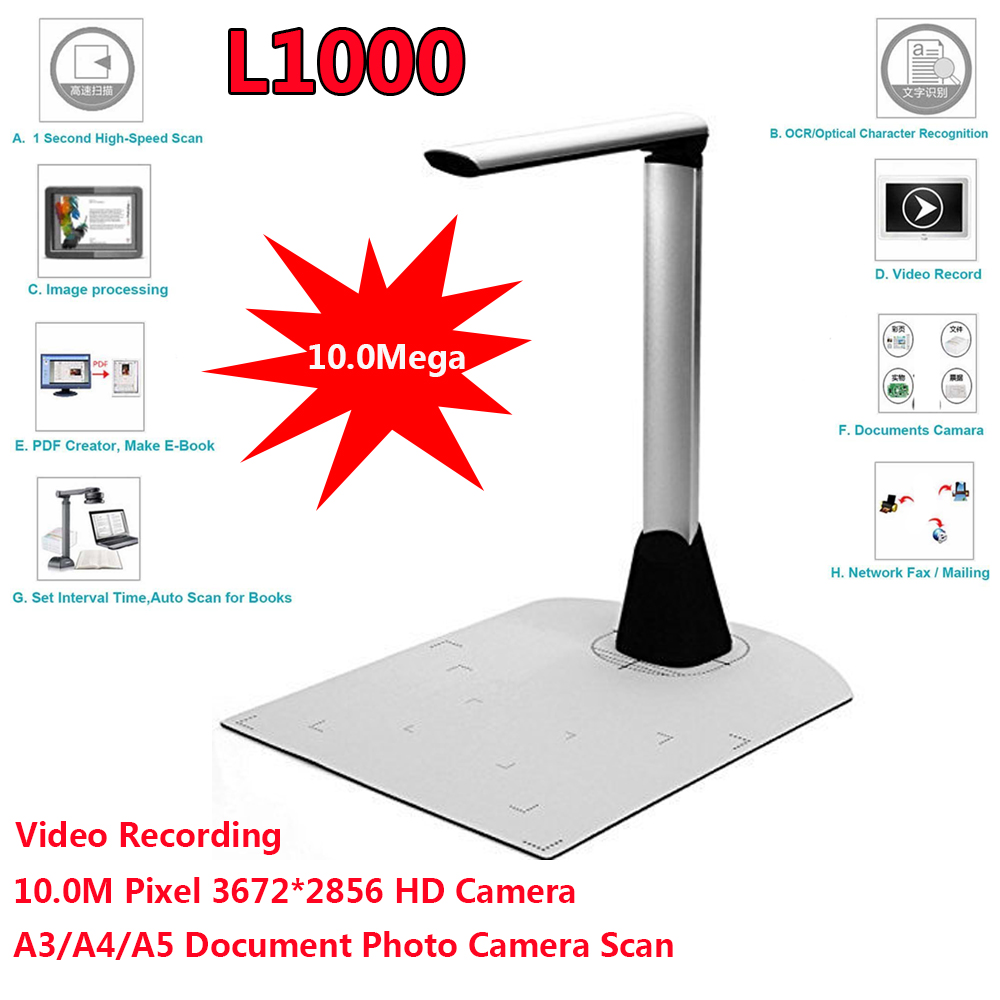 High-Speed 10MP A3 A4 A5 Document Photo Book ID Video Camera Scanner visualizer