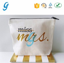 Fashionable cotton zipper bag cotton canvas cosmetic bag with custom logo