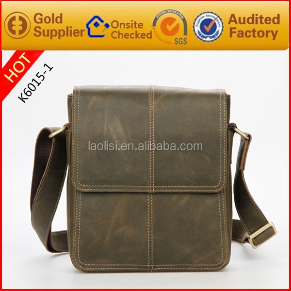 Guangzhou Wholesale Brand style Crazy Horse Leather Shoulder Bag Bags for Men