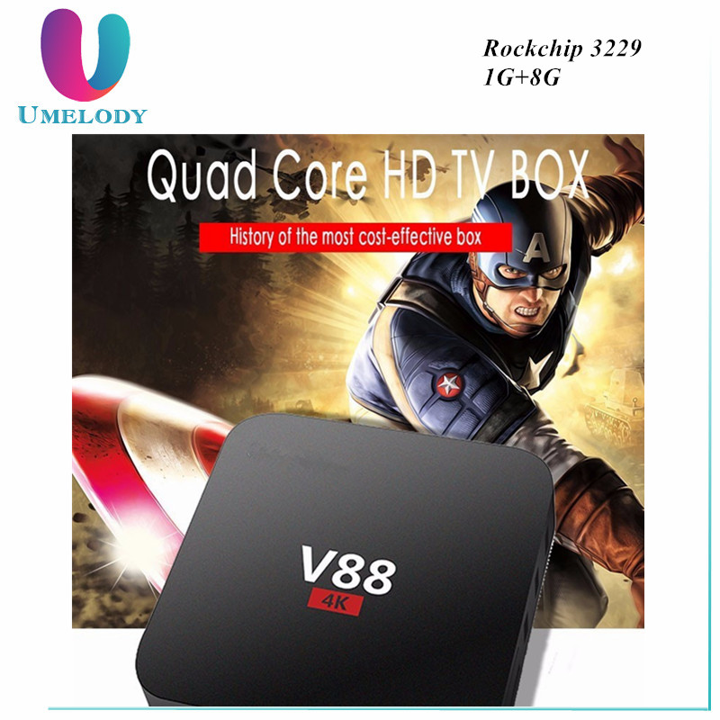 V88 Android TV BOX Rockchip 3229 Quad Core Android 5.1 1G/8G WiFi 4K* 2K HD Kd 16.0 Loaded add-ons Media Player