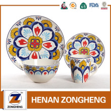ceramic 16pcs flower printing dinner set dinnerware