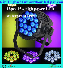 waterproof IP65 18x15w RGBWA uv 6 in 1 outdoor led par can par led outdoor stage lighting