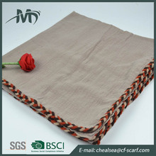 cotton scarf solid with braid decorative border