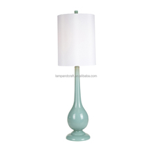 2018 hot selling blue glass desk lamp for bedside with cylinder white lamp shade good quality popular for America and Canada