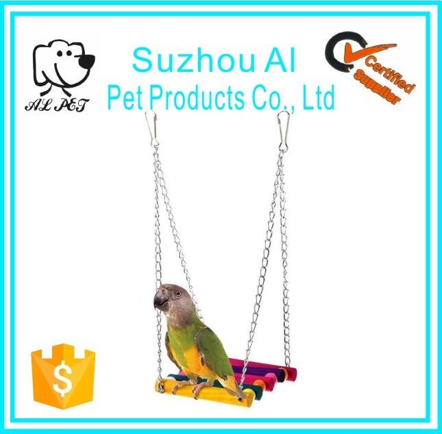 Pet Bird Parrot Parakeet Budgie Cockatiel Cage Hammock Wooden Swing Toy Wooden Hanging Toy Wooden Perch Toy