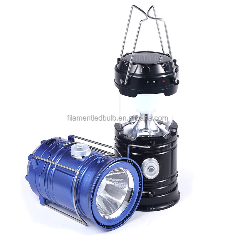 2 Modes Led Hand Lamp Rechargeable Collapsible Solar Camping Lantern Blue/red Tent Lights For Outdoor Lighting