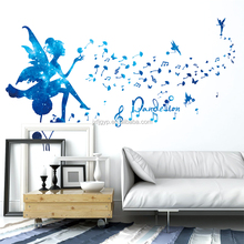 Wholesale blue starlight color cartoon dandelion fairy pvc wall sticker for kid