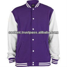 Dark purpal wool body white leather arms varsity jackets