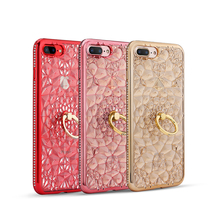 Luxury Crystal Flower TPU Soft Fashion Mobile Key Case Electroplating 3D Back Cover Phone Case with Ring Stand
