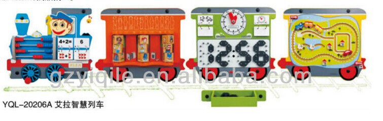 Kids educational toy train-shape puzzle game wall