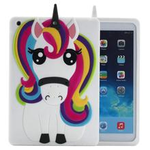 Cute Cool 3D Unicorn Horse Cartoon Animal Rainbow Soft Silicone Rubber Gel Case Cover New for iPad air2 pro 9.7 mini 1 2 3 4
