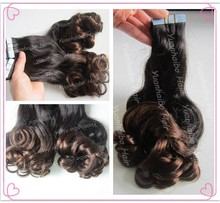 Fashion! Hot sale two color 40pcs/pack,3 packs/lot, 100% virgin human hair brazilian curly double tape hair