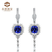 Indian gold earrings designs with natural tanzanite diamond 18K white gold for wholesale
