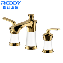 Luxury Antique dual handles gold bathroom filter water basin faucet