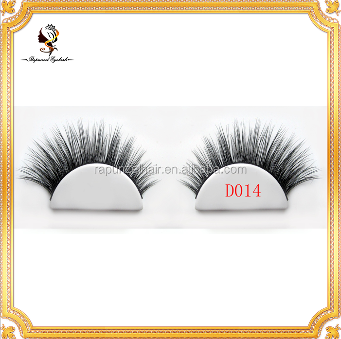 D014 Deluxe top quality fake eyelashes hand made 3D mink fur eyelash Reusable More than 15 Times 3D Real Eyelash Extension Mink