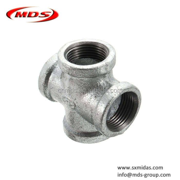 bsp galvanised malleable iron pipe fittings cross