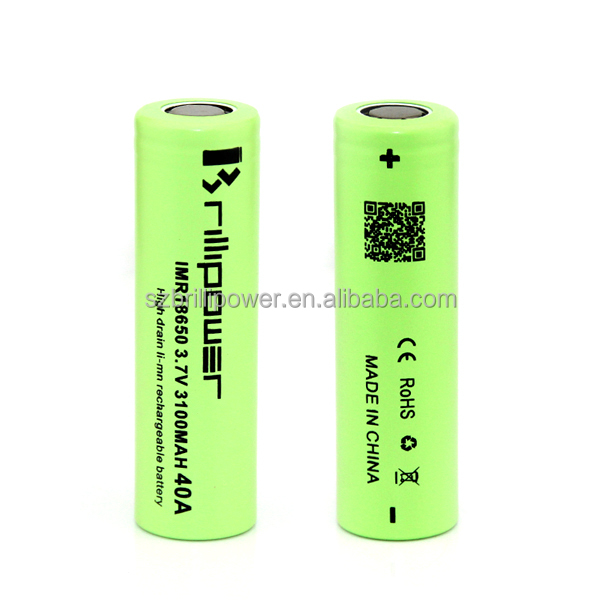 Brillipower rechargeable battery 18650 3100mAh 3.7v 40A electronic cigarette battery