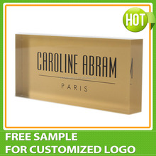 Custom Gold Acrylic Logo Block wholesale, Plexiglass Acrylic Brand Block, Acrylic Logo Display Manufacturer