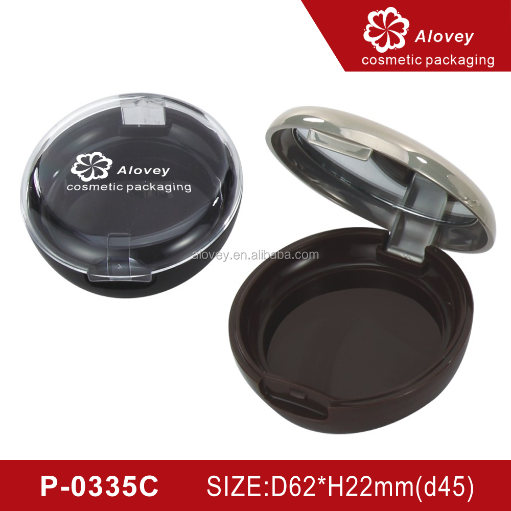 Wholesale empty round face makeup compact powder case puff packaging