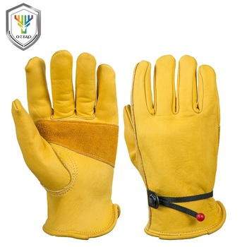 OZERO New Men's Work Driver Gloves Cowhide Leather Security Protection Wear Safety Working  Gloves For Men