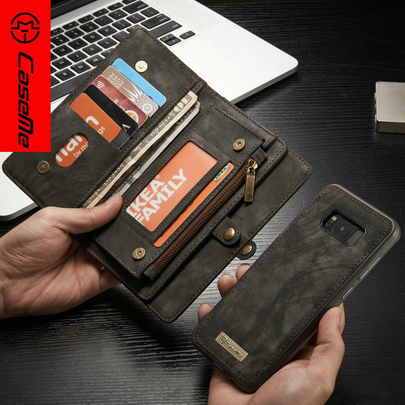 CaseMe New Arrival For Samsung Galaxy S8 Wallet Leather Case Luxury Flip Detachable 2 in 1 Flip PC+TPU Back Cover Wallet Case