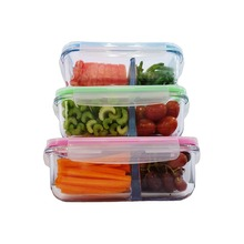 Glass Food Storage Containers with Locking Lids, 2 Compartment Oven Safe Freezer Food Prep Container Set - Airtight 3-Pack