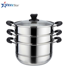 Kitchen Cookware Supplier 30 cm Stainless steel Steamer Pot with lid