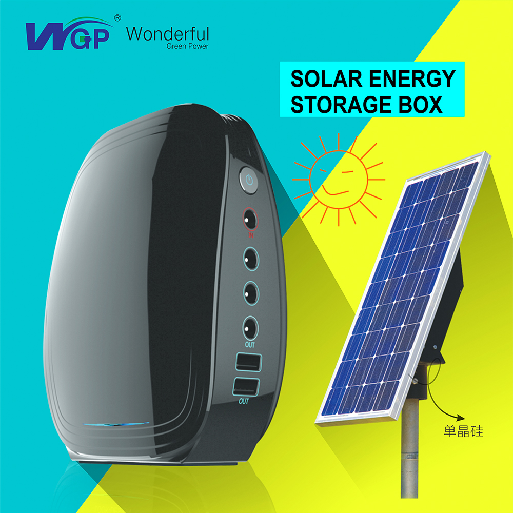 WGP 20W portable mini rechargeable home lighting solar power system for dc fan solar energy system