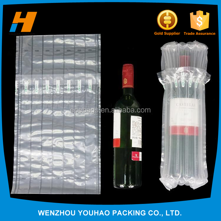 High quality bubble cushion wrap wine bottle air column packaging,air filled bags packaging