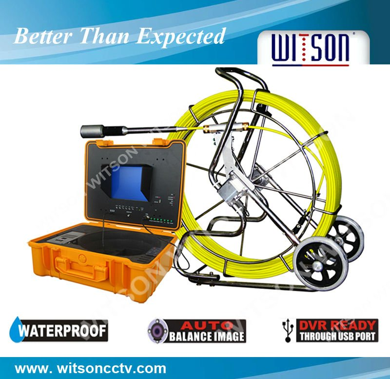Professional water pipe/ pipeline Inspection Camera with 120m fiberglass cable with DVR control box