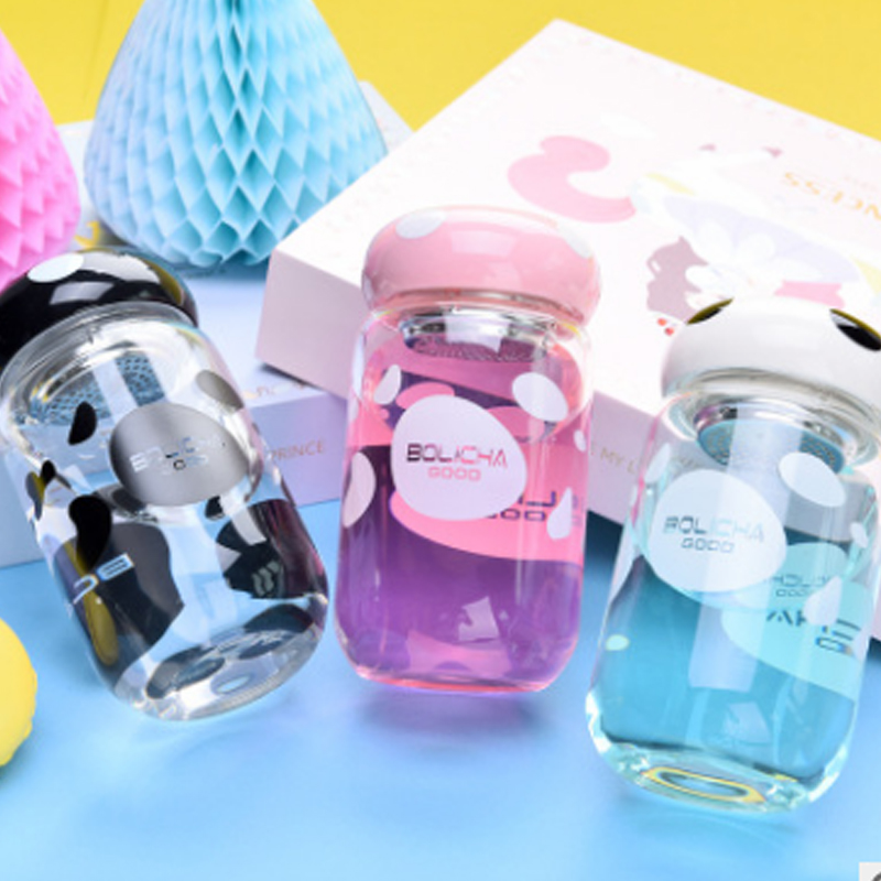 Hot selling borosilicate sport clear glass water bottle with screw cap