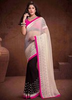 Vigorous Off White Georgette Resham Work Saree