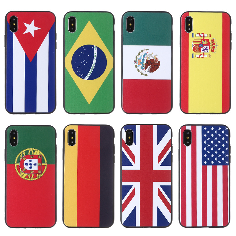 2018 football world cup national flag design mobile phone silicon custom phone case for iphone6/7/8/6plus/7plus/8plus/ipx