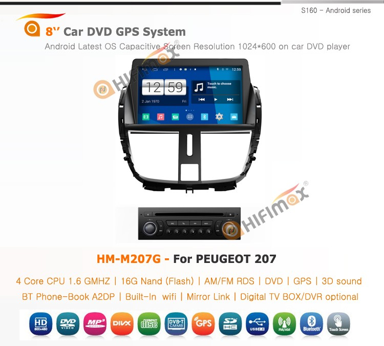 HIFIMAX Android 4.4.4 car dvd player for Peugeot 207 WITH Capacitive screen 1080P 16G ROM WIFI 3G INTERNET DVR SUPPORT