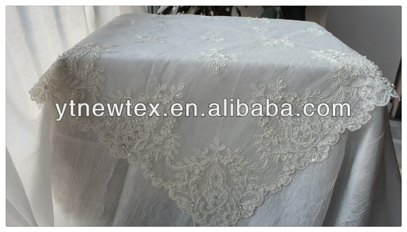 embroidery and handmade beads lace table overlays - buy lace table