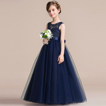 High grade western wedding flower girl latest formal children lace long dress patterns