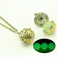 Two Tone color Luminous Vintage Magic Fairy Openable ball Locket Glowing In The Dark Pendant Necklace
