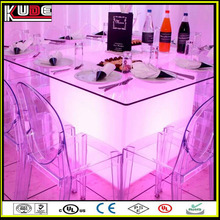 80cm plastic RGB lighting outdoor LED cube tables with tempered glass