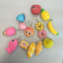Softer Lovly Factory Supply PU Keychain Slow Rising Animal Fruits and Food Squishies