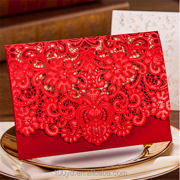 Gold red white laser cut Wedding Invitations Cards Kits with Free Envelopes Seals
