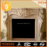 egyptian yellow marble fireplace with ethanol insert