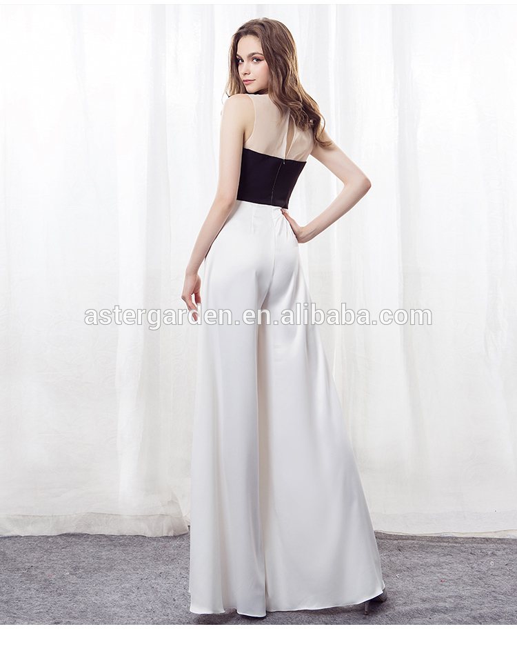 Custom Jumpsuit Black and White Splicing Long Banquet Evening Dress Skinny Pantskirt 2019 Jumpsuits