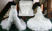 Hot sales crystal corset bodice short front long back organza cathedral train latest bridal wedding gowns